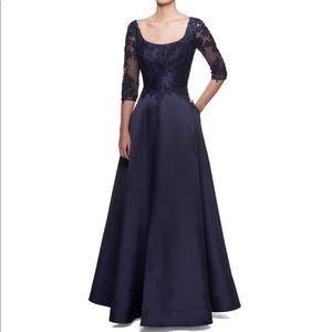 LA FEMME 3/4 sleeve A-line Lace Mikado Gown-12